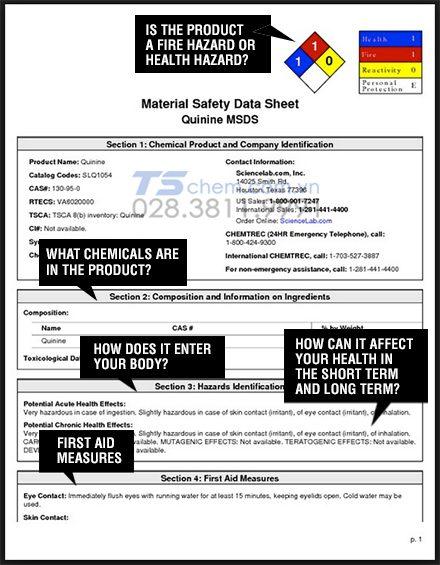 Nội dung của một bảng MSDS