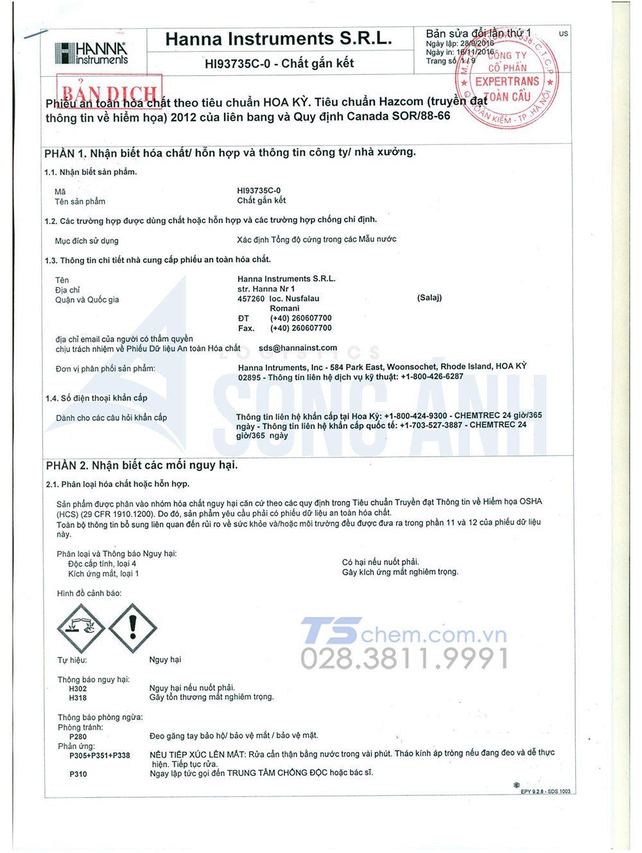Mục đích của bảng chỉ dẫn an toàn hóa chất MSDS