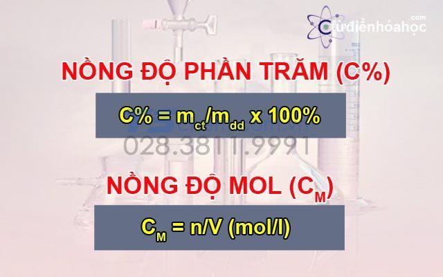 Sự khác nhau giữa nồng độ phần trăm và nồng độ mol